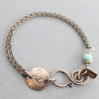 Copper Personalized Initial Bracelet With Larimar Stone – Tag Bracelet – Copper Bracelet – Name Bracelet – Personalized Bracelet – Br001 | Natural genuine Gemstone jewelry. Buy crystal jewelry, handmade handcrafted artisan jewelry for women.  Unique handmade gift ideas. #jewelry #beadedjewelry #beadedjewelry #gift #shopping #handmadejewelry #fashion #style #product #jewelry #affiliate #ad