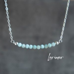 Shop Larimar Necklaces! Larimar Necklace, Dainty Gemstone Bar Necklace, Healing Crystal Necklace, Gift For Her, Gift For Friend, Handmade Jewelry   Natural genuine Larimar necklaces. Buy crystal jewelry, handmade handcrafted artisan jewelry for women.  Unique handmade gift ideas. #jewelry #beadednecklaces #beadedjewelry #gift #shopping #handmadejewelry #fashion #style #product #necklaces #affiliate #ad