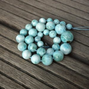 Shop Larimar Necklaces! Larimar Graduate Round Beads 10-20mm (etb00801) Rare / unique Jewelry / vintage Jewelry / gemstone Necklace   Natural genuine Larimar necklaces. Buy crystal jewelry, handmade handcrafted artisan jewelry for women.  Unique handmade gift ideas. #jewelry #beadednecklaces #beadedjewelry #gift #shopping #handmadejewelry #fashion #style #product #necklaces #affiliate #ad