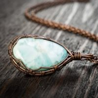 Handmade Raw Copper Larimar Pendant For Her – Christmas Gifts For Everyone – Leo Zodiac Pendant – Wire Wrapped Jewelry Pendant. | Natural genuine Gemstone jewelry. Buy crystal jewelry, handmade handcrafted artisan jewelry for women.  Unique handmade gift ideas. #jewelry #beadedjewelry #beadedjewelry #gift #shopping #handmadejewelry #fashion #style #product #jewelry #affiliate #ad