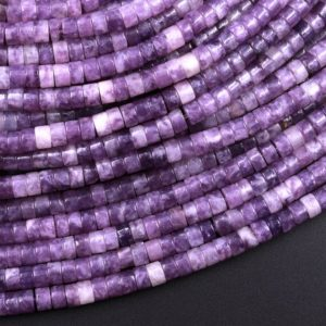 """Shop Lepidolite Rondelle Beads! Natural Lilac Purple Lepidolite 4mm Heishi Rondelle Beads 15.5"""" Strand 
