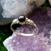 Lovely Hand Carved Dainty Whitby Jet And Solid Silver Ring | Natural genuine Gemstone jewelry. Buy crystal jewelry, handmade handcrafted artisan jewelry for women.  Unique handmade gift ideas. #jewelry #beadedjewelry #beadedjewelry #gift #shopping #handmadejewelry #fashion #style #product #jewelry #affiliate #ad