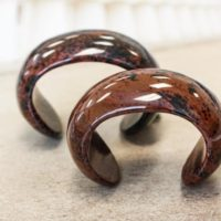 """Mahogany Obsidian Cuff Bracelet Approx. 70mm, Width 28mm Small For 5-5.5"""" Wrist 