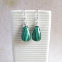 Malachite Sterling Silver Dangle Earrings, Green Teardrop Stone Jewelry, Gift For Her | Natural genuine Gemstone jewelry. Buy crystal jewelry, handmade handcrafted artisan jewelry for women.  Unique handmade gift ideas. #jewelry #beadedjewelry #beadedjewelry #gift #shopping #handmadejewelry #fashion #style #product #jewelry #affiliate #ad