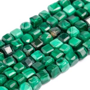 Shop Malachite Faceted Beads! Genuine Natural Malachite Loose Beads Grade A Faceted Cube Shape 2x2mm | Natural genuine faceted Malachite beads for beading and jewelry making.  #jewelry #beads #beadedjewelry #diyjewelry #jewelrymaking #beadstore #beading #affiliate #ad