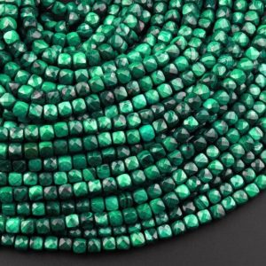"""Shop Malachite Faceted Beads! Natural Malachite Faceted 4mm 5mm Cube Square Dice Beads Gemstone 15.5"""" Strand 