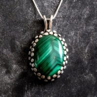 Malachite Necklace, Natural Malachite, Large Green Pendant, Oval Pendant, Statement Necklace, Green Antique Pendant, Solid Silver Pendant | Natural genuine Gemstone jewelry. Buy crystal jewelry, handmade handcrafted artisan jewelry for women.  Unique handmade gift ideas. #jewelry #beadedjewelry #beadedjewelry #gift #shopping #handmadejewelry #fashion #style #product #jewelry #affiliate #ad