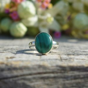 Shop Malachite Rings! Natural Malachite Ring, 925 Sterling Silver Ring, Round Malachite Gemstone Ring, Bezel Set, Statement Ring, Green Gemstone Ring, Sale | Natural genuine Malachite rings, simple unique handcrafted gemstone rings. #rings #jewelry #shopping #gift #handmade #fashion #style #affiliate #ad