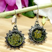 Moldavite Earring, Raw Moldavite Earring, Moldavite 925 Silver Dangle Earring, handmade Earring Moldavite Earring, moldavite Boho Earring | Natural genuine Gemstone jewelry. Buy crystal jewelry, handmade handcrafted artisan jewelry for women.  Unique handmade gift ideas. #jewelry #beadedjewelry #beadedjewelry #gift #shopping #handmadejewelry #fashion #style #product #jewelry #affiliate #ad