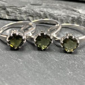 Shop Moldavite Rings! Moldavite Ring- Faceted Ring Us Size+ Certificate Of Authenticity   Natural genuine Moldavite rings, simple unique handcrafted gemstone rings. #rings #jewelry #shopping #gift #handmade #fashion #style #affiliate #ad