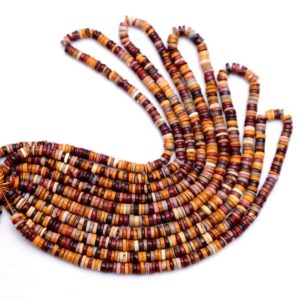 Shop Mookaite Jasper Rondelle Beads! Aaa+ Mookaite 5mm-6mm Smooth Heishi Rondelle Beads | 16inch Strand | Natural Mookaite Semi Precious Gemstone Spacer / Coin / Wheel Beads | Natural genuine rondelle Mookaite Jasper beads for beading and jewelry making.  #jewelry #beads #beadedjewelry #diyjewelry #jewelrymaking #beadstore #beading #affiliate #ad