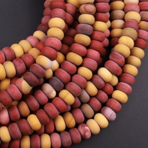 """Natural Australian Mookaite Matte 6mm 8mm Rondelle Beads Sunset Color Red Yellow Maroon 15.5"""" Strand 