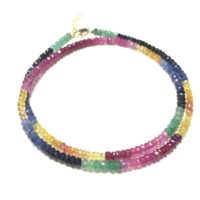 Multi Color Sapphire Necklace, Natural Gemstone Faceted Loose 7 Chakra Beads For Women Diy Jewelry Making Design 3-4mm, 44cm One Strand | Natural genuine Gemstone jewelry. Buy crystal jewelry, handmade handcrafted artisan jewelry for women.  Unique handmade gift ideas. #jewelry #beadedjewelry #beadedjewelry #gift #shopping #handmadejewelry #fashion #style #product #jewelry #affiliate #ad