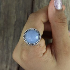 Shop Angelite Rings! Natural Angelite Ring, Healing Stone Ring, Sterling Silver Ring, Statement Ring, Bohemian Ring, Everyday Ring, Gift For Her, Ring For Women | Natural genuine Angelite rings, simple unique handcrafted gemstone rings. #rings #jewelry #shopping #gift #handmade #fashion #style #affiliate #ad