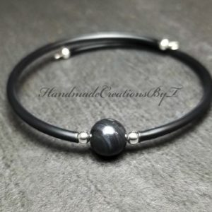 Black Ice Obsidian Bracelet, 8mm High Quality Gemstone, Black, Silver, Womens, Simple Cuff Style Jewelry | Natural genuine Obsidian bracelets. Buy crystal jewelry, handmade handcrafted artisan jewelry for women.  Unique handmade gift ideas. #jewelry #beadedbracelets #beadedjewelry #gift #shopping #handmadejewelry #fashion #style #product #bracelets #affiliate #ad