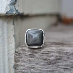 Shop Obsidian Rings! Golden Sheen Obsidian, Obsidian Ring, Obsidian, Sterling Silver Ring, Gemstone Ring, Recycled Sterling, Black Gemstone Ring, Silver | Natural genuine Obsidian rings, simple unique handcrafted gemstone rings. #rings #jewelry #shopping #gift #handmade #fashion #style #affiliate #ad