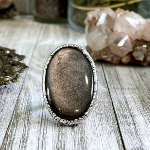 Shop Obsidian Rings! Size 6.5 Silver Sheen Obsidian Statement Ring in fine Silver / Foxlark Collection – One of a Kind | Natural genuine Obsidian rings, simple unique handcrafted gemstone rings. #rings #jewelry #shopping #gift #handmade #fashion #style #affiliate #ad
