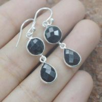 Black Onyx Earring 925 Silver Gemstone 2 Stone Hook Earring | Natural genuine Gemstone jewelry. Buy crystal jewelry, handmade handcrafted artisan jewelry for women.  Unique handmade gift ideas. #jewelry #beadedjewelry #beadedjewelry #gift #shopping #handmadejewelry #fashion #style #product #jewelry #affiliate #ad