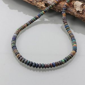 """Shop Opal Necklaces! 1 Strand Black Ethiopian Opal Beaded Necklace, AAA 18"""" Black Opal Smooth Rondelle Necklace, Ethiopian Black Opal Necklace, Gift for her 