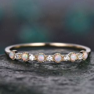 Opal Rings For Women Vintage Opal Ring Yellow Gold Opal Wedding Band Moissanite Wedding Ring Opal Jewelry Anniversary Graduation Ring Gift   Natural genuine Array jewelry. Buy handcrafted artisan wedding jewelry.  Unique handmade bridal jewelry gift ideas. #jewelry #beadedjewelry #gift #crystaljewelry #shopping #handmadejewelry #wedding #bridal #jewelry #affiliate #ad