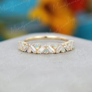 Unique Half Eternity Baguette cut Moissanite wedding band vintage Yellow gold opal wedding band women Matching band Bridal Promise gift   Natural genuine Array jewelry. Buy handcrafted artisan wedding jewelry.  Unique handmade bridal jewelry gift ideas. #jewelry #beadedjewelry #gift #crystaljewelry #shopping #handmadejewelry #wedding #bridal #jewelry #affiliate #ad