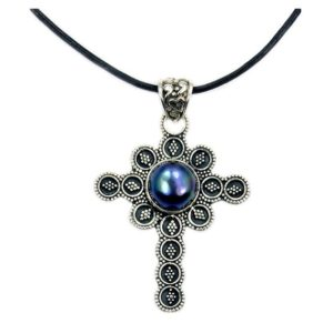 Shop Pearl Pendants! Filigree Oxidized Titanium Pearl Cross Pendant Necklace In 925 Sterling Silver Aa159x | Natural genuine Pearl pendants. Buy crystal jewelry, handmade handcrafted artisan jewelry for women.  Unique handmade gift ideas. #jewelry #beadedpendants #beadedjewelry #gift #shopping #handmadejewelry #fashion #style #product #pendants #affiliate #ad
