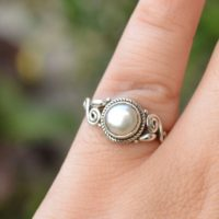 Silver Ring, Round Shape, Pearl Gemstone Ring, 925 Sterling Silver Jewelry, Handmade Ring, Stone Ring, Gift For Her, Boho Jewelry, R 12 | Natural genuine Gemstone jewelry. Buy crystal jewelry, handmade handcrafted artisan jewelry for women.  Unique handmade gift ideas. #jewelry #beadedjewelry #beadedjewelry #gift #shopping #handmadejewelry #fashion #style #product #jewelry #affiliate #ad