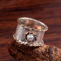 Pearl Ring, Spinner Ring, Anxiety Ring, Boho Fidget Ring, Tribal Thumb Ring, Handmade Ring For Men Women, 925 Sterling Silver, statement Ring | Natural genuine Gemstone jewelry. Buy handcrafted artisan men's jewelry, gifts for men.  Unique handmade mens fashion accessories. #jewelry #beadedjewelry #beadedjewelry #shopping #gift #handmadejewelry #jewelry #affiliate #ad