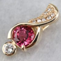 Pink Sapphire And Diamond Pendant, Yellow Gold Pendant, Nu832et3 | Natural genuine Gemstone jewelry. Buy crystal jewelry, handmade handcrafted artisan jewelry for women.  Unique handmade gift ideas. #jewelry #beadedjewelry #beadedjewelry #gift #shopping #handmadejewelry #fashion #style #product #jewelry #affiliate #ad