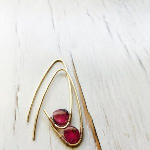 Pink Tourmaline Earrings Tourmaline Earrings Tourmaline Hoop Gemstone Jewelry | Natural genuine Array earrings. Buy crystal jewelry, handmade handcrafted artisan jewelry for women.  Unique handmade gift ideas. #jewelry #beadedearrings #beadedjewelry #gift #shopping #handmadejewelry #fashion #style #product #earrings #affiliate #ad