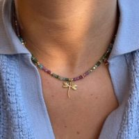 Dragonfly Necklace, Pink Tourmaline And Aquamarine Necklace, Beaded Necklace, Adjustable Necklace, Summer Necklace, Macrame Necklace | Natural genuine Gemstone jewelry. Buy crystal jewelry, handmade handcrafted artisan jewelry for women.  Unique handmade gift ideas. #jewelry #beadedjewelry #beadedjewelry #gift #shopping #handmadejewelry #fashion #style #product #jewelry #affiliate #ad