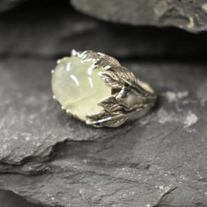 Shop Prehnite Rings! Leaf Ring, Prehnite Ring, Natural Prehnite, May Birthstone, Unique Artistic Ring, Green Vintage Ring, Horizontal Ring, Solid Silver Ring | Natural genuine Prehnite rings, simple unique handcrafted gemstone rings. #rings #jewelry #shopping #gift #handmade #fashion #style #affiliate #ad