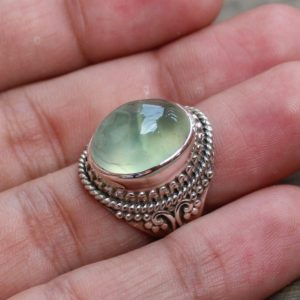 Shop Prehnite Rings! Prehnite Sterling Silver Rings, Stone Of Prophecy, Gift For Her, Natural Green Prehnite Gemstone Cabochon, Anniversary Gift, Statement Rings | Natural genuine Prehnite rings, simple unique handcrafted gemstone rings. #rings #jewelry #shopping #gift #handmade #fashion #style #affiliate #ad