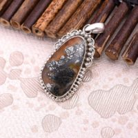 Designer Inspired Wood Pyrite Pendant With Fire Flashes • Silver Jewelry • Victorian Style • Indonesian Wood Pyrite Gemstone • Gift For Her | Natural genuine Gemstone jewelry. Buy crystal jewelry, handmade handcrafted artisan jewelry for women.  Unique handmade gift ideas. #jewelry #beadedjewelry #beadedjewelry #gift #shopping #handmadejewelry #fashion #style #product #jewelry #affiliate #ad