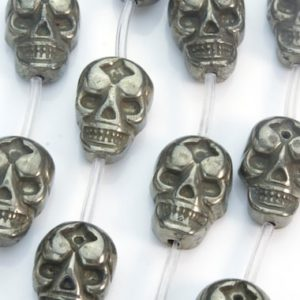 Shop Pyrite Jewelry! pyrite gemstone beads – skull beads wholesale – carved pendants – fools gold – jewelry beads and stone – skull beads -size 20x15mm -13 beads | Natural genuine Pyrite jewelry. Buy crystal jewelry, handmade handcrafted artisan jewelry for women.  Unique handmade gift ideas. #jewelry #beadedjewelry #beadedjewelry #gift #shopping #handmadejewelry #fashion #style #product #jewelry #affiliate #ad