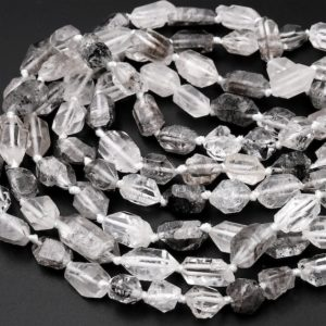 """Natural Raw Rough Tibetan Quartz Beads Drilled Double Terminated Points Super Clear Freeform Real Natural Crystal Nugget 15.5"""" Strand 