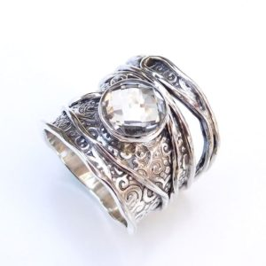 Crystal quartz Ring, Clear quartz Ring, 925 Sterling silver Crystal quartz Ring, Natural Crystal quartz Briolette Gemstone Ring-U129 | Natural genuine Quartz rings, simple unique handcrafted gemstone rings. #rings #jewelry #shopping #gift #handmade #fashion #style #affiliate #ad