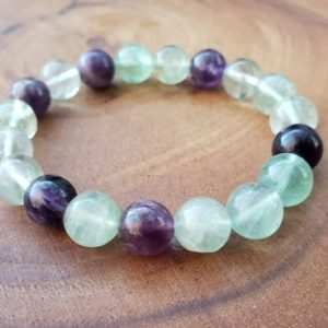 Rainbow Fluorite Crystal Bracelet – Energy Cleansing – Protection – Calming – Grounding – Spiritual – Minimal – Anxiety – Mom Gift For Her | Natural genuine Gemstone bracelets. Buy crystal jewelry, handmade handcrafted artisan jewelry for women.  Unique handmade gift ideas. #jewelry #beadedbracelets #beadedjewelry #gift #shopping #handmadejewelry #fashion #style #product #bracelets #affiliate #ad