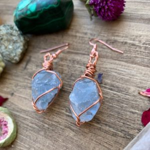 Raw Blue Celestite Earrings, Natural Crystal Earrings, Pure Copper, Dangle Crystal Earrings, Celestite Earrings, Celestite Jewelry, Dangly   Natural genuine Gemstone earrings. Buy crystal jewelry, handmade handcrafted artisan jewelry for women.  Unique handmade gift ideas. #jewelry #beadedearrings #beadedjewelry #gift #shopping #handmadejewelry #fashion #style #product #earrings #affiliate #ad