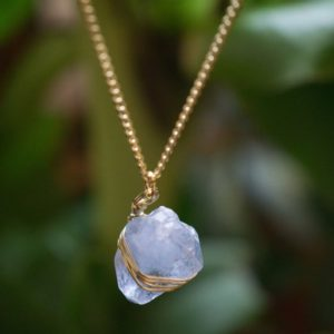 Raw Celestine Necklace, Crystal Pendant Necklace, Delicate Thin Chain Gold Plated Jewelry, Blue Celestite Pendant | Natural genuine Gemstone necklaces. Buy crystal jewelry, handmade handcrafted artisan jewelry for women.  Unique handmade gift ideas. #jewelry #beadednecklaces #beadedjewelry #gift #shopping #handmadejewelry #fashion #style #product #necklaces #affiliate #ad