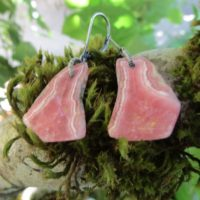 Rhodochrosite Druzy Slice, Oxidized Sterling Silver Coil Wrap, Lever Back Ear Wire Earrings | Natural genuine Gemstone jewelry. Buy crystal jewelry, handmade handcrafted artisan jewelry for women.  Unique handmade gift ideas. #jewelry #beadedjewelry #beadedjewelry #gift #shopping #handmadejewelry #fashion #style #product #jewelry #affiliate #ad