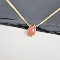 Dainty Rhodochrosite Necklace, Necklaces For Women / Handmade Jewelry / rhodochrosite Pendant, Delicate Layering, Simple Gold Necklace Silver | Natural genuine Gemstone jewelry. Buy crystal jewelry, handmade handcrafted artisan jewelry for women.  Unique handmade gift ideas. #jewelry #beadedjewelry #beadedjewelry #gift #shopping #handmadejewelry #fashion #style #product #jewelry #affiliate #ad