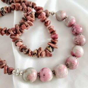 Shop Rhodonite Necklaces! Rhodonite Jumbo Spheres & Chips Necklace. Pink Gemstone Jewelry, With Swirls Of Gray. Long Statement Length For Video Conferencing. | Natural genuine Rhodonite necklaces. Buy crystal jewelry, handmade handcrafted artisan jewelry for women.  Unique handmade gift ideas. #jewelry #beadednecklaces #beadedjewelry #gift #shopping #handmadejewelry #fashion #style #product #necklaces #affiliate #ad