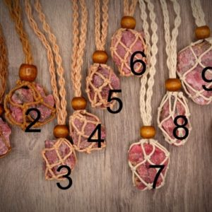 Shop Rhodonite Necklaces! Raw Rhodonite Macrame Knotted Net Cotton Necklace Compassion, Love (brazil) | Natural genuine Rhodonite necklaces. Buy crystal jewelry, handmade handcrafted artisan jewelry for women.  Unique handmade gift ideas. #jewelry #beadednecklaces #beadedjewelry #gift #shopping #handmadejewelry #fashion #style #product #necklaces #affiliate #ad