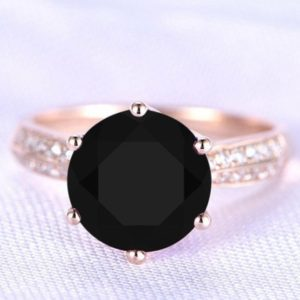 Round 9.00 Natural Black Onyx Engagement Ring, Black Onyx Wedding Ring For Women, Gift For Love, Black Stone Proposal Ring, Promise Ring   Natural genuine Array rings, simple unique alternative gemstone engagement rings. #rings #jewelry #bridal #wedding #jewelryaccessories #engagementrings #weddingideas #affiliate #ad