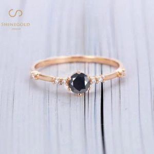 Round Black Onyx Engagement Ring, Vintage Prong set Moissanite Wedding Ring, Art deco Rose Gold Diamond Bridal Ring,Promise Anniversary Ring   Natural genuine Array rings, simple unique alternative gemstone engagement rings. #rings #jewelry #bridal #wedding #jewelryaccessories #engagementrings #weddingideas #affiliate #ad