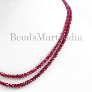Shop Ruby Necklaces! High Quality Natural Ruby Plain Rondelle Beads Necklace, Ruby Smooth Gemstone Beads, Ruby Necklace, Ruby Smooth Necklace, Ruby Beads | Natural genuine Ruby necklaces. Buy crystal jewelry, handmade handcrafted artisan jewelry for women.  Unique handmade gift ideas. #jewelry #beadednecklaces #beadedjewelry #gift #shopping #handmadejewelry #fashion #style #product #necklaces #affiliate #ad