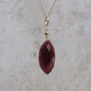 Shop Ruby Pendants! Genuine Ruby Necklace, Raw Stone Ruby Pendant Marquise Cut, July Birthstone Gift | Natural genuine Ruby pendants. Buy crystal jewelry, handmade handcrafted artisan jewelry for women.  Unique handmade gift ideas. #jewelry #beadedpendants #beadedjewelry #gift #shopping #handmadejewelry #fashion #style #product #pendants #affiliate #ad