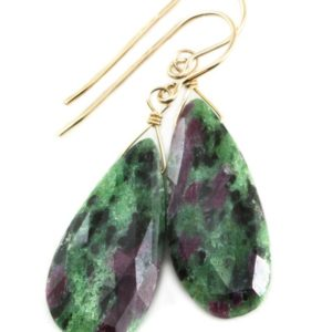Shop Ruby Zoisite Jewelry! Red Ruby Zoisite Anyolite Earrings Faceted Teardrop Long Drops Sterling Silver Or 14k Solid Yellow Gold Or Filled Natural Large Green Red   Natural genuine Ruby Zoisite jewelry. Buy crystal jewelry, handmade handcrafted artisan jewelry for women.  Unique handmade gift ideas. #jewelry #beadedjewelry #beadedjewelry #gift #shopping #handmadejewelry #fashion #style #product #jewelry #affiliate #ad