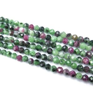 Shop Ruby Zoisite Faceted Beads! green and red ruby zoisite beads – faceted precious stone beads – natural gemstone tiny spacer beads – 3mm 4mm faceted beads -15inch | Natural genuine faceted Ruby Zoisite beads for beading and jewelry making.  #jewelry #beads #beadedjewelry #diyjewelry #jewelrymaking #beadstore #beading #affiliate #ad